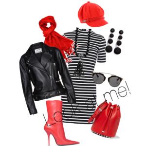 Koukněte na mně! - styling v kombinaci černé, bílé a červené, to vždycky funguje.