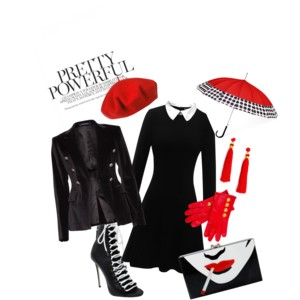 Kapka krve - styling převážně v černé oživený kapkou bílé a červené