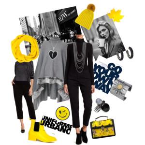 Podzim ve žluté - styling - ani černá a šedá nemusí být nudná, když ji oživíme. Třeba žlutou.